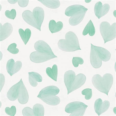 Geometric Pattern Drapes Mint Watercolor Hearts Fabric By The Yard Green Fabric