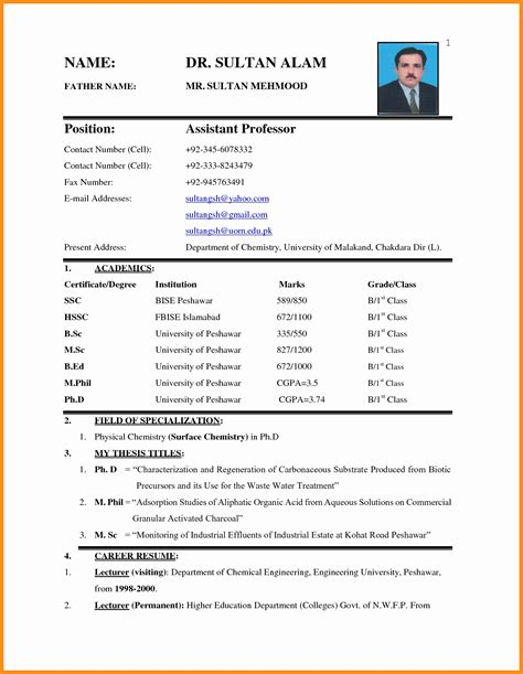 simple resume format in word with photo 10 simple biodata format in word odr2017