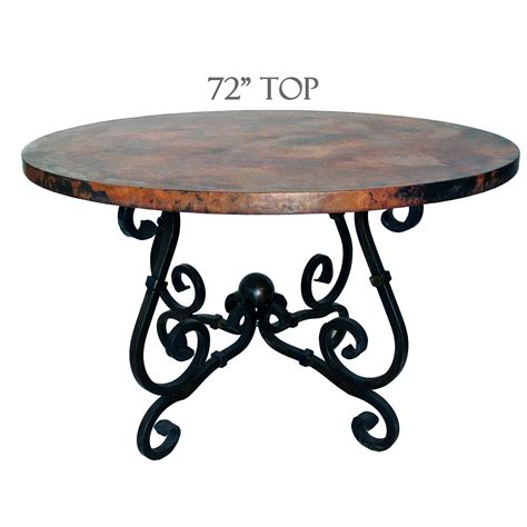 Wrought Iron Dining Tables Dining Table 72in Diameter Copper Top Timeless