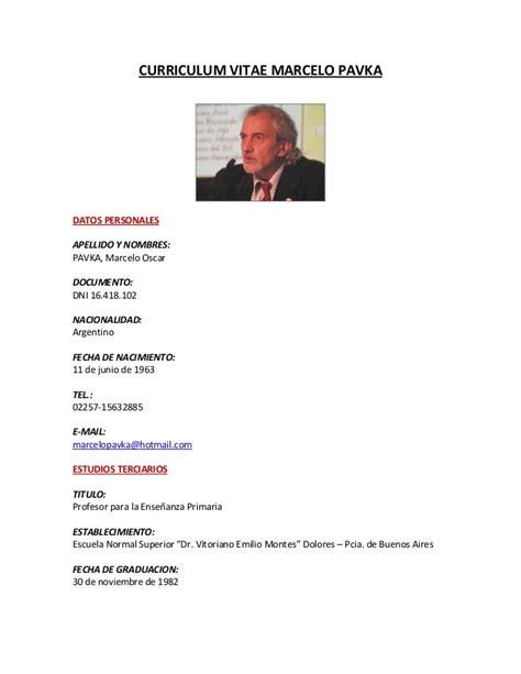 Modelo De Curriculum Vitae Para Trabajo Argentina Curriculum Vitae Marcelo Pavka