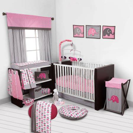 bacati bedding bacati elephants pink gray 10 piece nursery in a bag