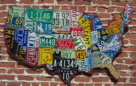 usa license plate map quot cutout quot style usa license plate map aaron foster designs