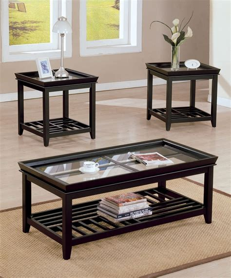 coffee table espresso finish 3pc espresso finish coffee end table set