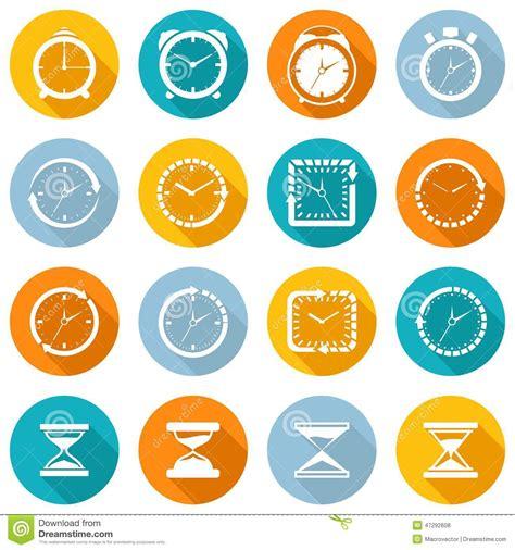 Kitchen Utensils Red - clock icon flat set stock vector image 47292608