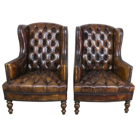 pair armchairs pair of english leather tufted armchairs melissa