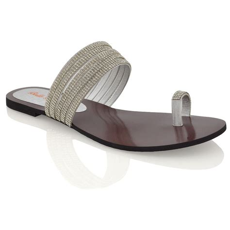 sparkly flat sandals womens flat toe post diamante strappy sandals slip