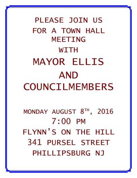 meeting hall town hall meeting august 8 2016 phillipsburg new jersey