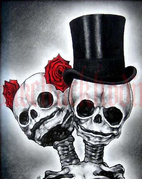 day of the dead couple tattoo print 8x10 skull skeleton roses top hat day