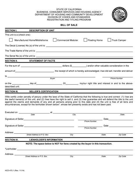 87492 mobile home bill of sale template mobile home bill