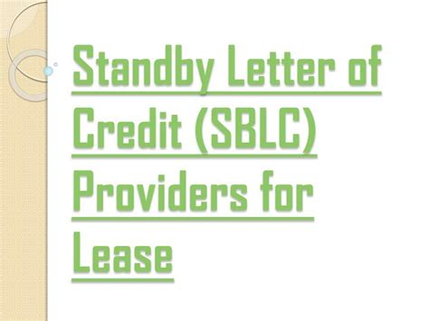 Letter Of Credit Office Lease ppt the hanson of companies sblc providers for