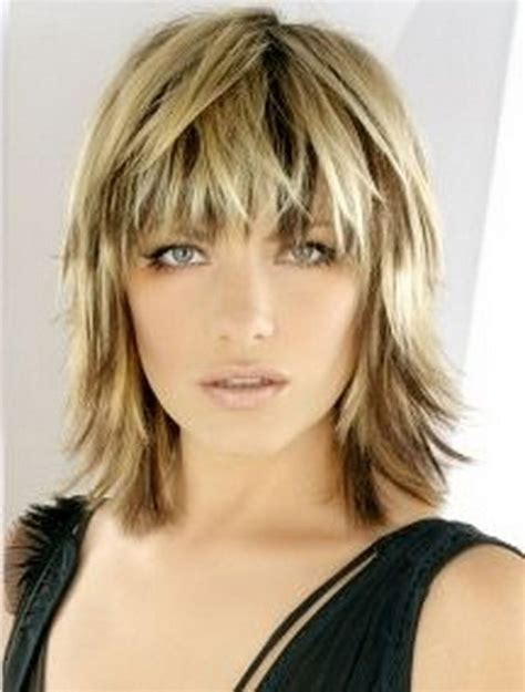 Above Shoulder Shag Layered Bob With Bangs | medium lengths choppy bob haircuts and wispy bangs on