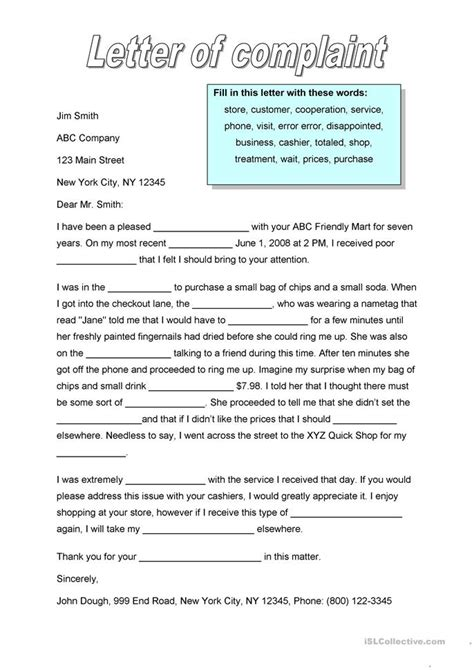 application letter exercise letter of complaint worksheet free esl printable