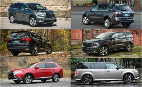 suvs with three rows of seats three row mid size crossovers suvs ranked from worst to