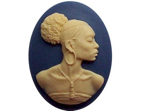 Afro Cameo Pendant Necklace By Jewels by American Cameo Ethnic Cameo Black By