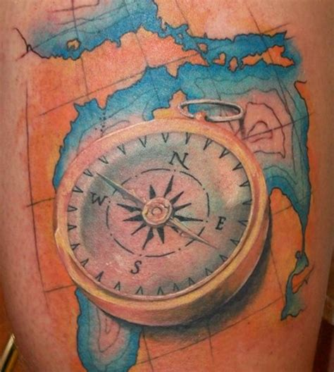 compass and map tattoo compass designs inspirationkeys