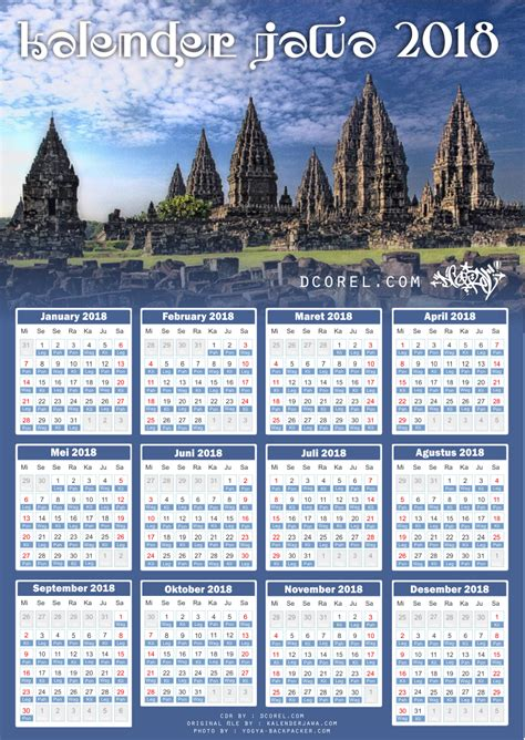 Kalender 2018 Indonesia Template Kalender Jawa 2018 Template Cdr File Design Corel