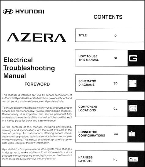 2006 hyundai azera owners manual 2006 hyundai azera electrical troubleshooting manual original