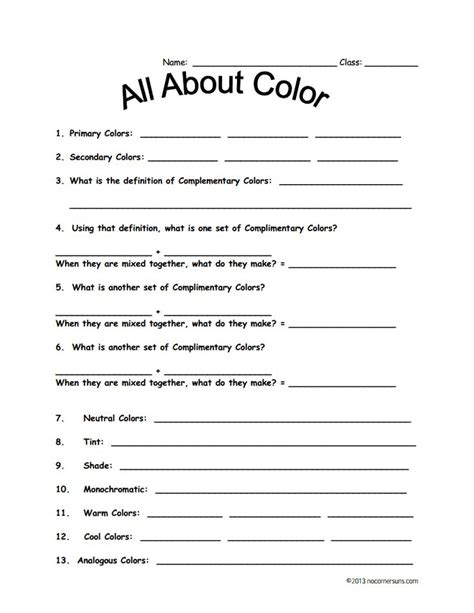 Color Theory Worksheet by Color Theory Worksheet For Fourth Grade Color Theory