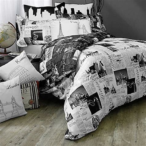 bed bath and beyond white comforter passport london and paris reversible duvet cover set in black white bed bath beyond