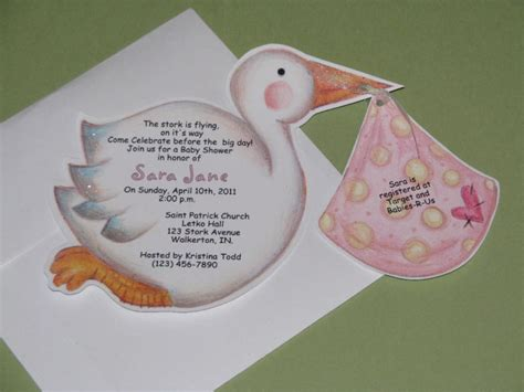 Handmade Invitations For Baby Shower - stork handmade personalized baby shower invitation 1 25