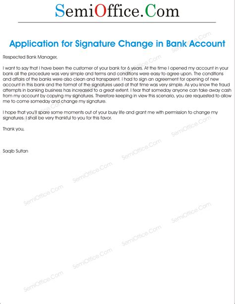 Bank Manager Letter To Customer Application To Bank In Order To Change The Signatures