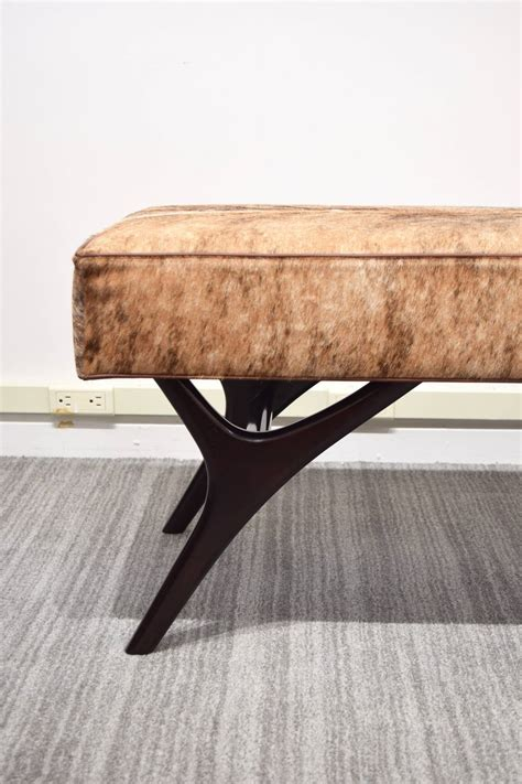 Cowhide Benches - finn leg cowhide bench for sale at 1stdibs