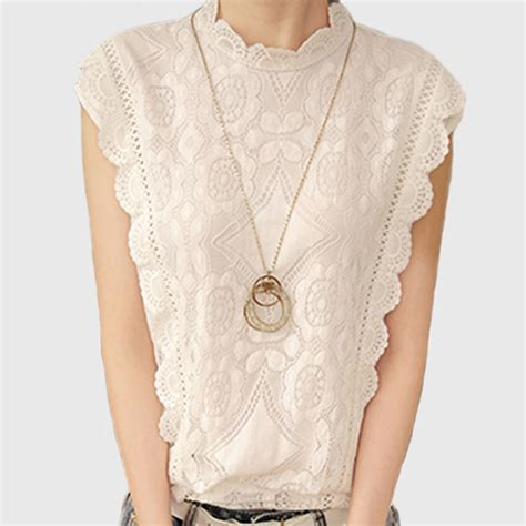 White Retro Casual Top 30025 2017 white lace top sleeveless shirt summer vintage