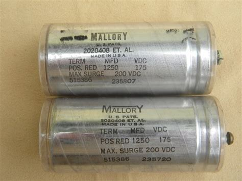 mallory capacitors lot of 3 1930s vintage mallory capacitors 175 vdc 1250 mfd