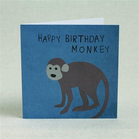 Monkey Birthday Cards Blue Monkey Happy Birthday Card By Lil3birdy
