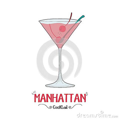 manhattan drink illustration manhattan cocktail for a customer illustration for bar