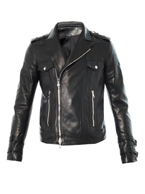 Balmainleather Biker Jacket balmain leather biker jacket in black for lyst