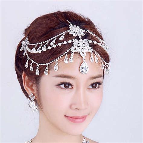 Rhinestone Headpiece bridal rhinestone dangle faux pearl forehead maang