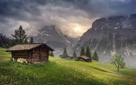 nature landscape mountain hut clouds trees grass