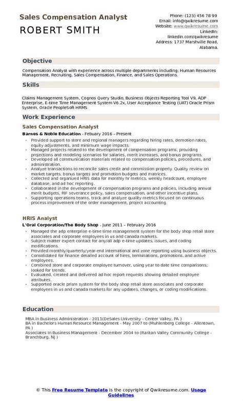Sr Operational Analyst Salary With Mba Atlanta Ga by Compensation Analyst Resume Sles Qwikresume