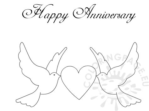 Happy Anniversary Doves And Heart Card Coloring Page Coloring Happy Annivrsary