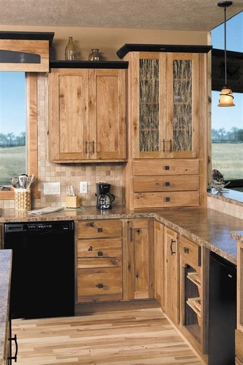 Rustic Kitchen Cabinet Ideas Hickory Cabinets Rustic Kitchen Design Ideas Wood Flooring Pendant Lights Kitchen Ideas