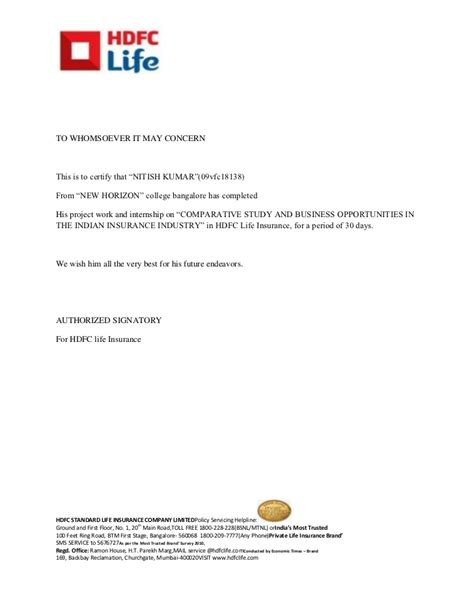 certification letter internship certificate hdfc