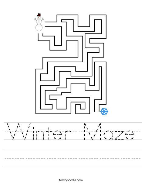 printable mitten maze winter maze worksheets preschool winter best free