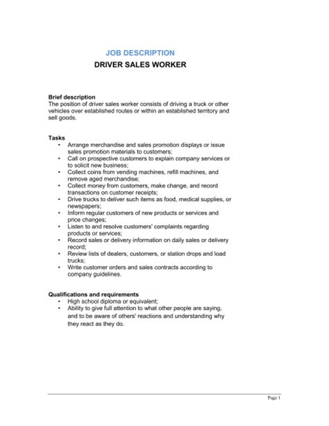 driver sales worker description template sle form biztree