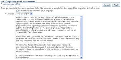 supplier terms and conditions template oracle sourcing