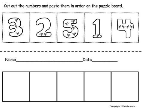free printable preschool cut and paste worksheets cut paste number ordering