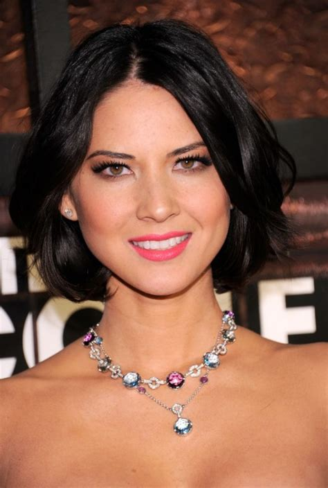 short bob centre part center parted black bob hairstyle with waves olivia munn