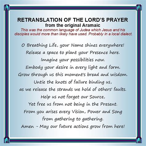 printable version of lord s prayer craigsbank parish church the lord s prayer translated