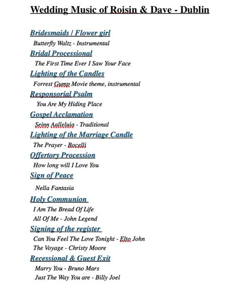 Wedding Ceremony Song List Piano by Wedding Processional Songs Recessional Church
