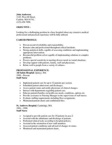Icu Resume Sle by Nurses Resume Sle 28 Images Sle Resume For Nursing