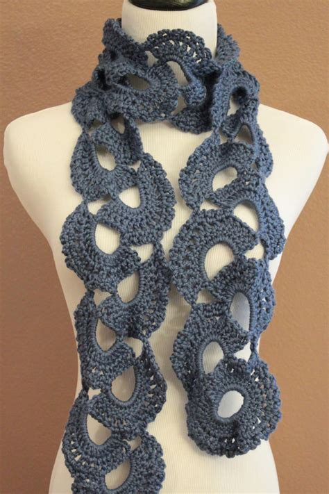 crochet pattern queen anne s lace scarf crochet scarf chunky queen annes lace blue on luulla