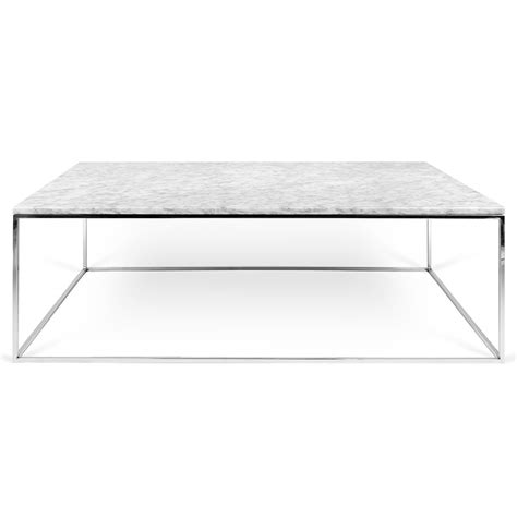 Gleam White Marble   Chrome Rectangle Modern Coffee Table
