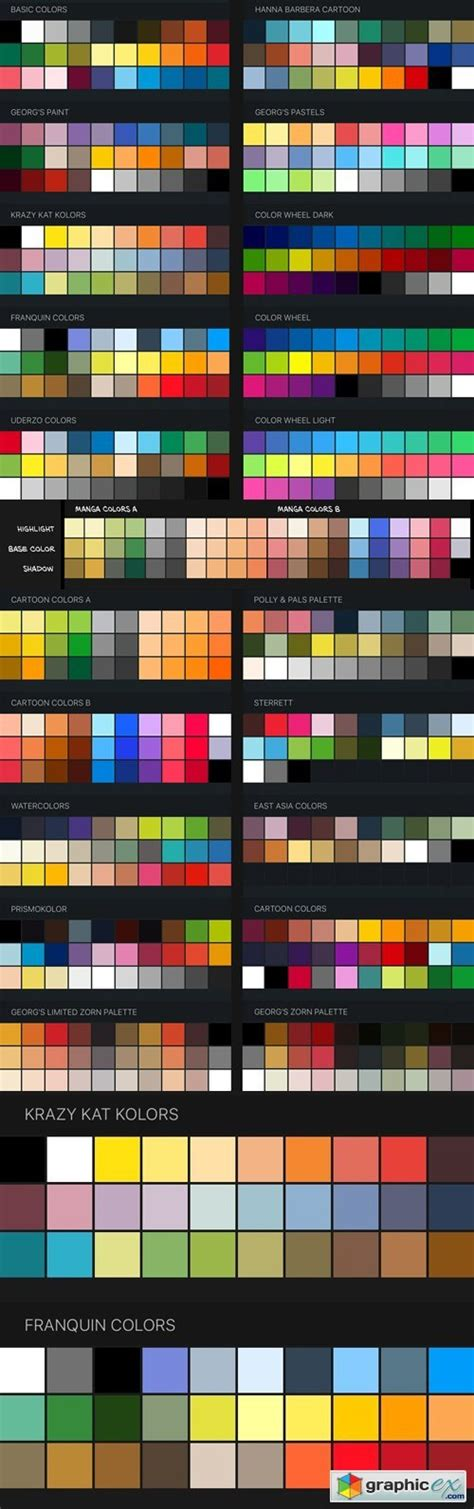 procreate color swatches 22 palettes for painting and drawing 187 free vector stock