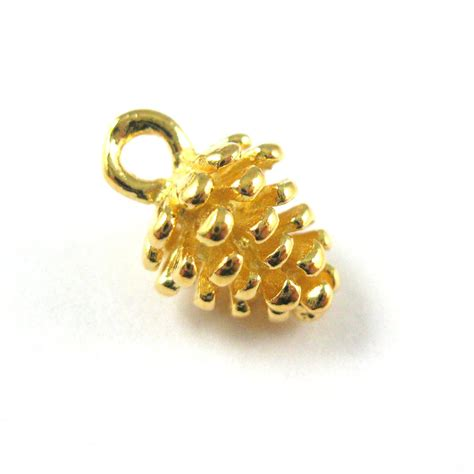 wholesale gold plated sterling silver pine cone charm