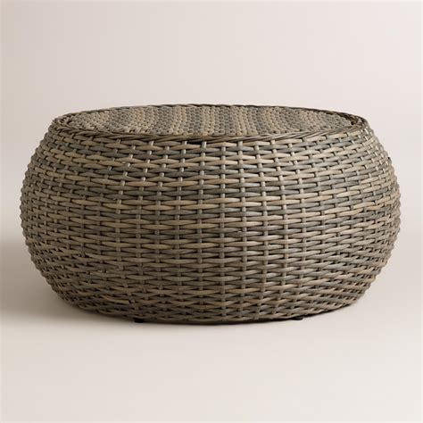 wicker basket coffee table all weather wicker formentera egg coffee table market